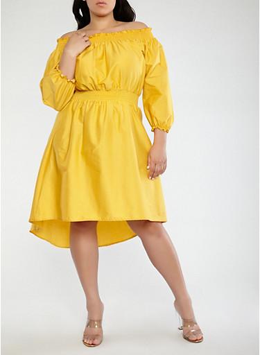 Plus Size Smocked Off the Shoulder Dress,MUSTARD,large