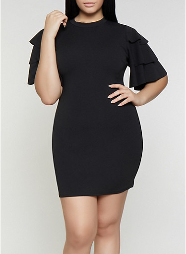 Plus Size Tiered Sleeve Bodycon Dress,BLACK,large