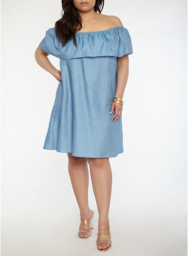 Plus Size Off the Shoulder Chambray Dress,BLUE,large