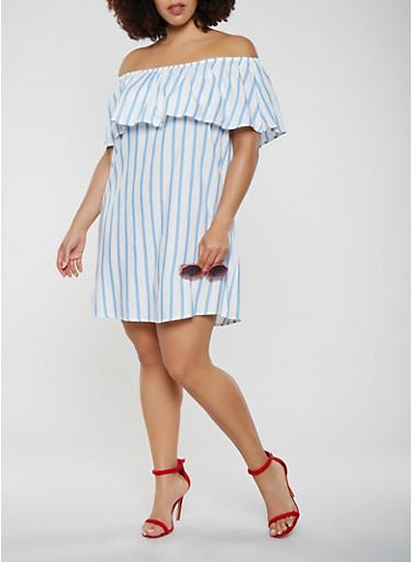 Plus Size Striped Off the Shoulder Shift Dress,BLUE,large