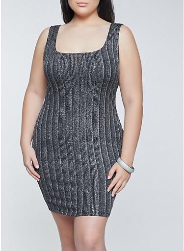 Plus Size Striped Lurex Bodycon Dress,SILVER,large
