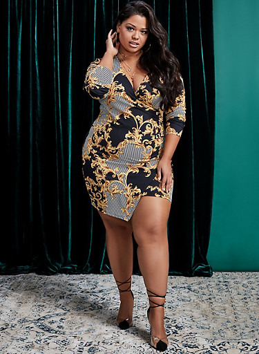 Plus Size Printed Faux Wrap Dress,GOLD,large
