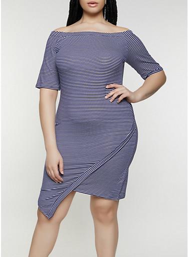 Plus Size Asymmetrical Off the Shoulder Dress,NAVY,large
