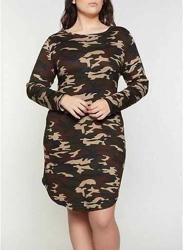 Plus Size Camo Long Sleeve T Shirt Dress,OLIVE,large