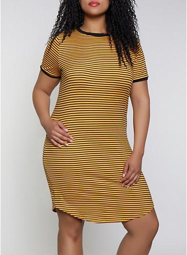 Plus Size Striped Contrast Trim T Shirt Dress,MUSTARD,large
