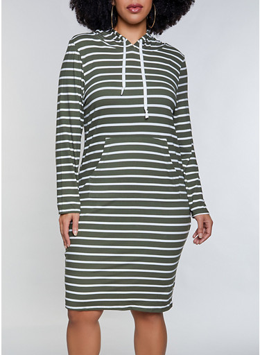 Plus Size Striped Hooded Dress,OLIVE,large