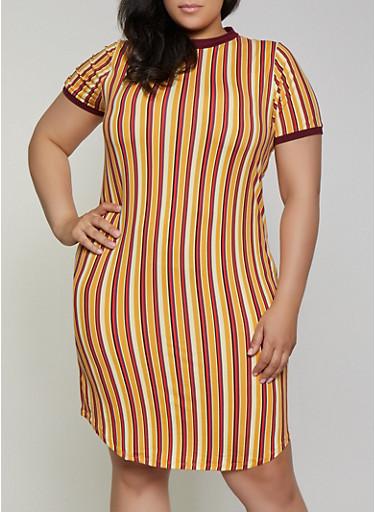 Plus Size Vertical Stripe T Shirt Dress,MUSTARD,large