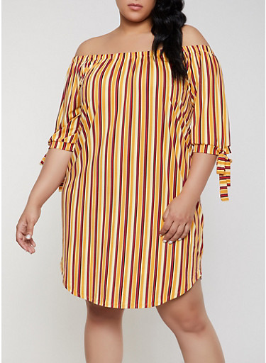 Plus Size Striped Off the Shoulder Shift Dress | Mustard,MUSTARD,large