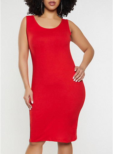 Plus Size Solid Soft Knit Midi Tank Dress,RED,large