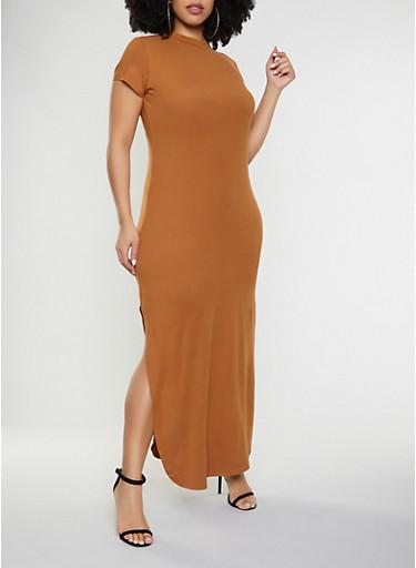 Plus Size Side Slit Bodycon Maxi Dress,RUST,large