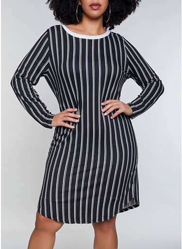Plus Size Soft Knit Striped T Shirt Dress,BLACK/WHITE,large