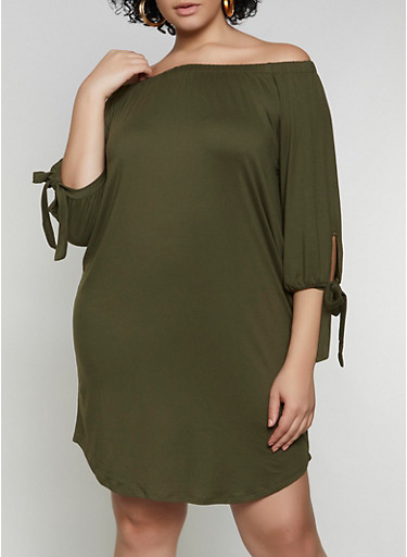 Plus Size Soft Knit Off the Shoulder Midi Dress,OLIVE,large