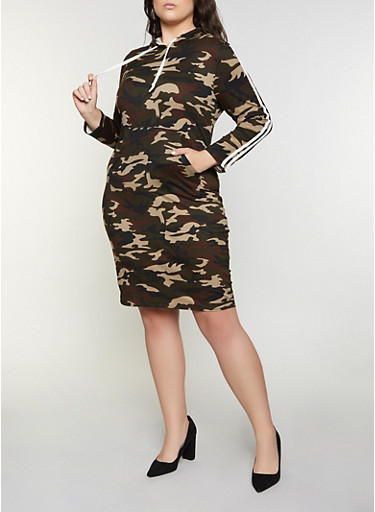 Plus Size Camo Hooded Dress