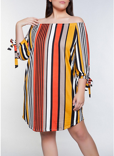 Plus Size Off the Shoulder Striped Tie Sleeve Dress,MUSTARD,large