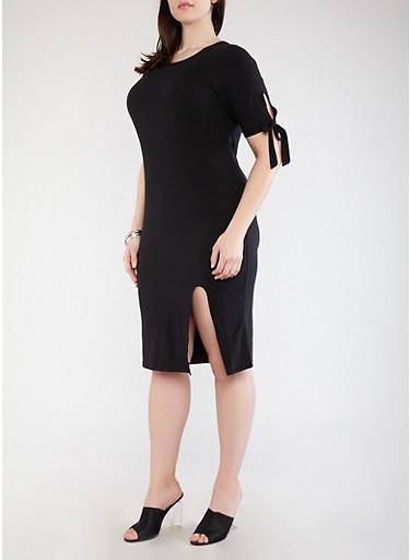 Plus Size Soft Knit Tie Sleeve Dress | Tuggl