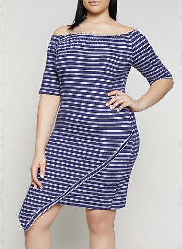 Plus Size Striped Off the Shoulder Asymmetric Hem Dress,NAVY,large