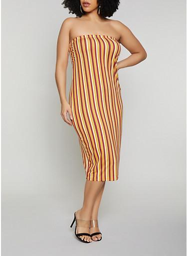 Plus Size Multi Striped Tube Dress,MUSTARD,large