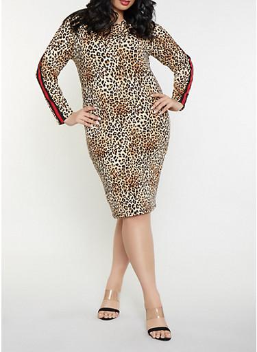 Plus Size Leopard Print Bodycon Dress,BLACK,large