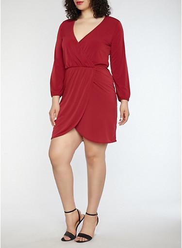 Plus Size Faux Wrap Dress,BURGUNDY,large