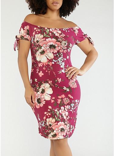 Plus Size Floral Off the Shoulder Dress,BURGUNDY,large