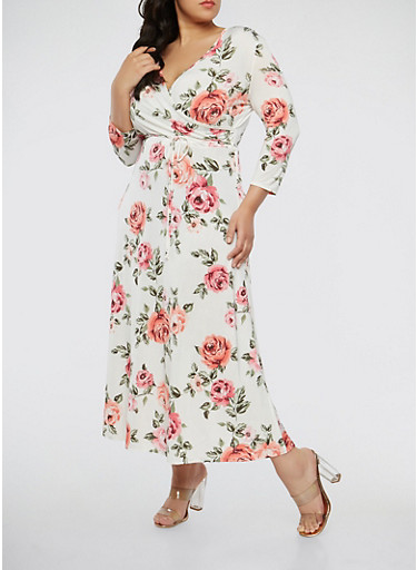 Plus Size Ivory Floral Faux Wrap Maxi Dress with Sleeves,IVORY,large