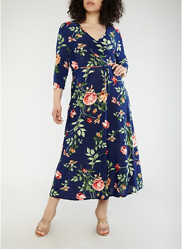 Plus Size Floral Faux Wrap Maxi Dress with Sleeves,NAVY,large