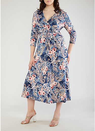 Plus Size Navy Printed Faux Wrap Maxi Dress with Sleeves,NAVY,large