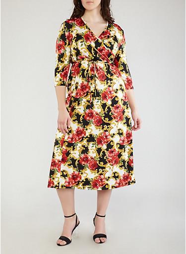 Plus Size Floral Print Faux Wrap Dress,BLACK MULTI,large