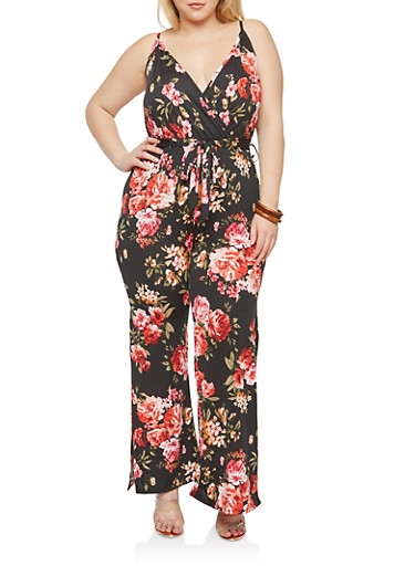 Plus Size Wide Leg Black Floral Jumpsuit,BLACK,large