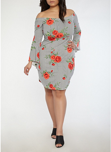 Plus Size Printed Soft Knit Off the Shoulder Dress,BLACK/RED,large