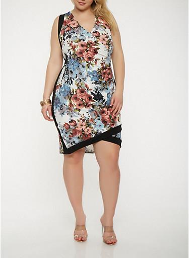 Plus Size Floral Faux Wrap Bodycon Dress,IVORY,large