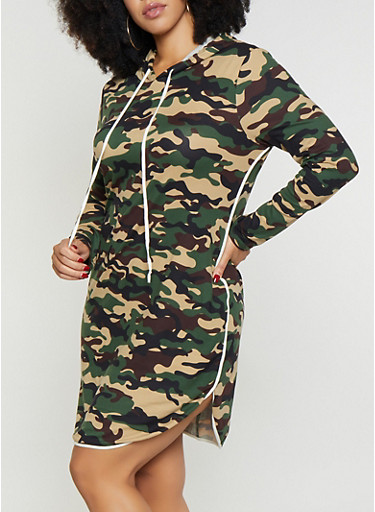 Plus Size Hooded Camo Dress,OLIVE,large