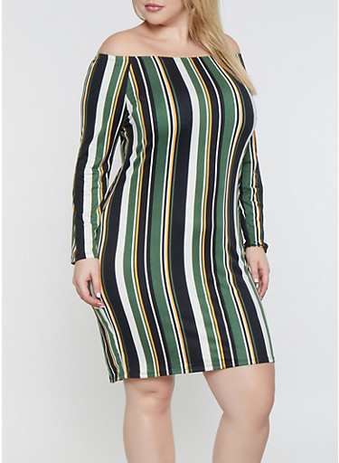Plus Size Striped Off the Shoulder Dress,BLACK,large