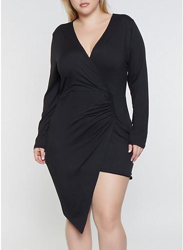 Plus Size Asymmetrical Faux Wrap Dress,BLACK,large