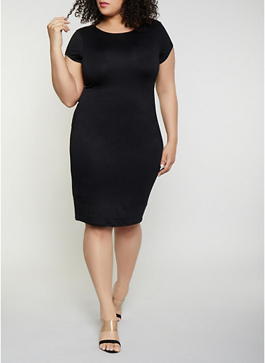 Plus Size Bodycon T Shirt Dress,BLACK,large