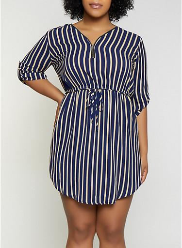 Plus Size Half Zip Striped Dress,NAVY,large