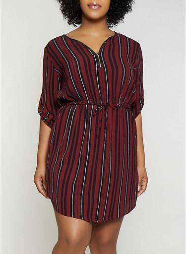 Plus Size Striped Half Zip Dress,BLACK,large