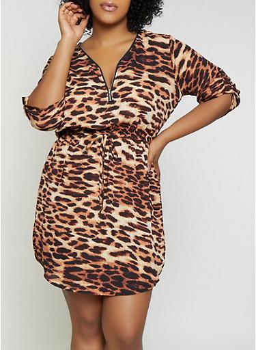 Plus Size Half Zip Animal Print Dress,BLACK,large