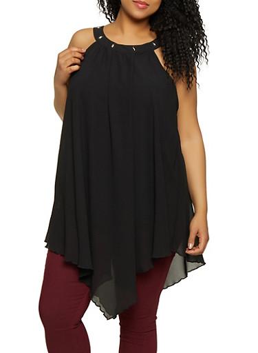 Plus Size Crepe Knit Asymmetrical Top,BLACK,large