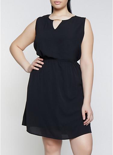 Plus Size Crepe Knit Keyhole Dress,BLACK,large