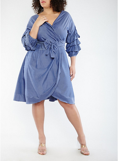 Plus Size Tiered Sleeve Chambray Wrap Dress,BLUE,large