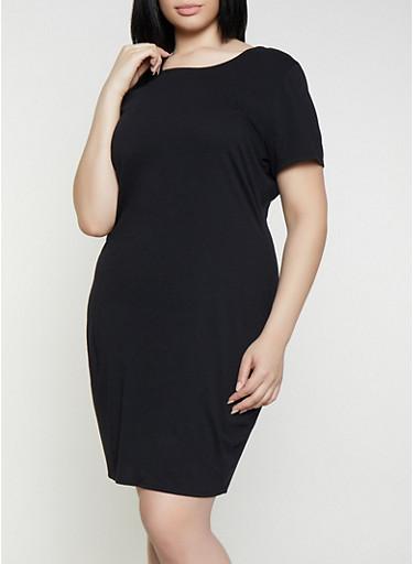 Plus Size Solid T Shirt Dress,BLACK,large