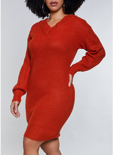 Plus Size V Neck Sweater Dress,COPPER,large