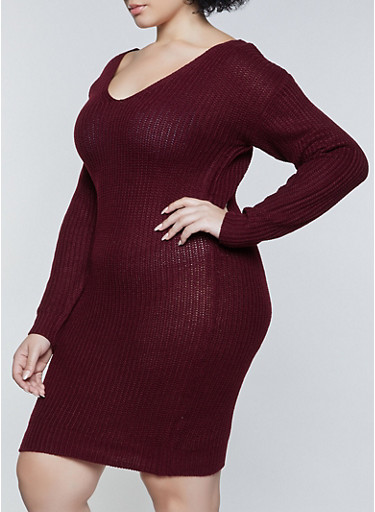 Plus Size Caged O Ring Back Sweater Dress,WINE,large