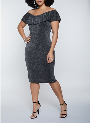 Plus Size Ruffled Off the Shoulder Lurex Dress,SILVER,large