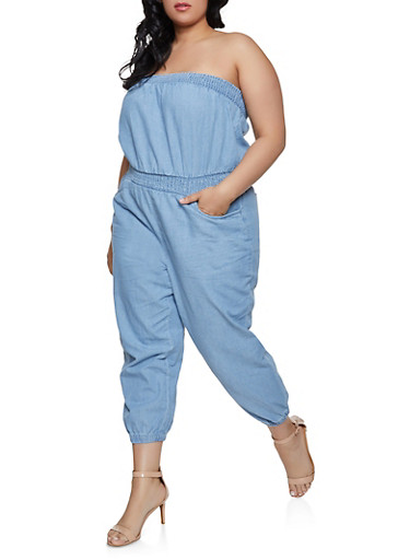 Plus Size Smocked Denim Jumpsuit,MEDIUM WASH,large