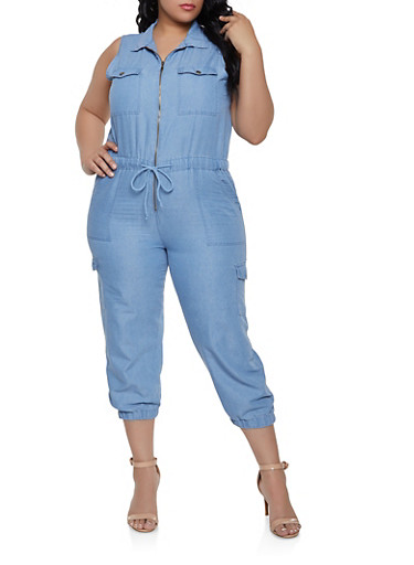 Plus Size Denim Cargo Zip Front Jumpsuit,LIGHT WASH,large