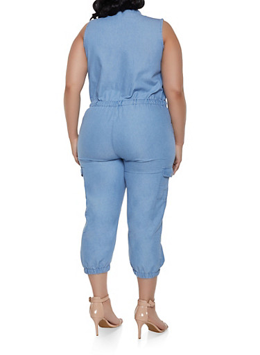 a94a75ac37f2b Plus Size Denim Cargo Zip Front Jumpsuit - Rainbow
