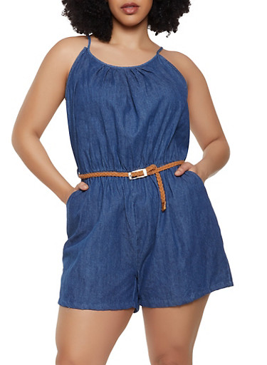 Plus Size Braided Belt Denim Romper,DENIM,large