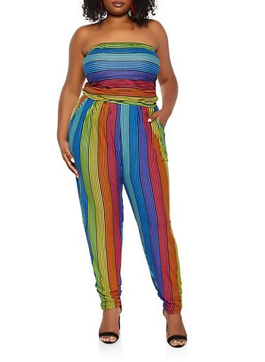 Plus Size Rainbow Striped Tube Jumpsuit,MULTI COLOR,large